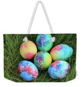 Colorful Easter Eggs On Green Grass Weekender Tote Bag