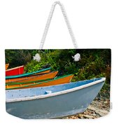 Colorful Fishing Boats On A Rocky Shore  Grand Manan Weekender Tote Bag