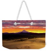 Colorful Foggy Sunrise Over Sandy River Valley Weekender Tote Bag