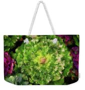 Colorful Green, White And Purple Flowers Painting Weekender Tote Bag