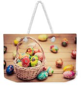 Colorful Hand Painted Easter Eggs In Basket And On Wood Weekender Tote Bag