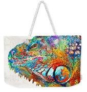 Colorful Iguana Art - One Cool Dude - Sharon Cummings Weekender Tote Bag