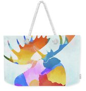 Colorful Moose Head Weekender Tote Bag