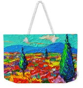 Colorful Poppies Field Abstract Landscape Impressionist Palette Knife Painting By Ana Maria Edulescu Weekender Tote Bag