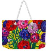 Colorful Ranunculus Flowers In Polka Dots Vase Palette Knife Oil Painting By Ana Maria Edulescu Weekender Tote Bag