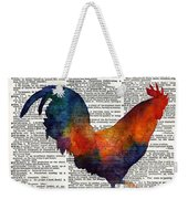 Colorful Rooster On Vintage Dictionary Weekender Tote Bag by Hailey E Herrera