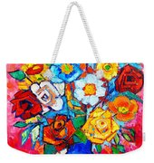 Colorful Roses And Camellias - Abstract Bouquet Of Flowers Weekender Tote Bag