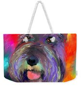 Colorful Schnauzer Dog Portrait Print Weekender Tote Bag
