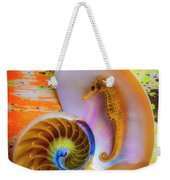 Colorful Seahorse And Nautilus Shell Weekender Tote Bag