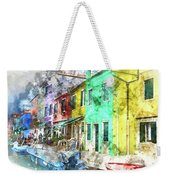 Colorful Street In Burano Near Venice Italy Weekender Tote Bag