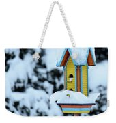 Colorful Wooden Birdhouse In The Snow Weekender Tote Bag