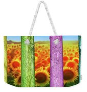 Colorfull Tree Trunks In Thefield. Abstract Psychedelic Colors Weekender Tote Bag