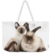 Colorpoint Rabbit And Siamese Kitten Weekender Tote Bag