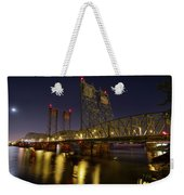 Columbia Crossing I-5 Interstate Bridge At Night Weekender Tote Bag