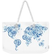 Columbia University Colors Swirl Map Of The World Atlas Weekender Tote Bag