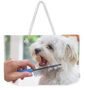 Combing Beards Of The White Dog Weekender Tote Bag
