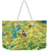 Common Buckeye Butterfly Hides In The Goldenrod Weekender Tote Bag