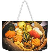 Composition Of Various Gourds In A Basket With Vignetting Weekender Tote Bag