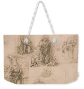 Compositional Sketches For The Virgin Adoring The Christ Child Weekender Tote Bag