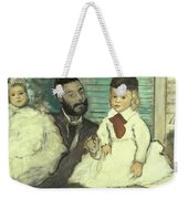Comte Le Pic And His Sons Weekender Tote Bag by Edgar Degas