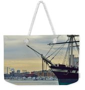 Uss Constellation And Domino Sugars - Sloop Of War Warship In Baltimore's Inner Harbor - Us Navy Weekender Tote Bag