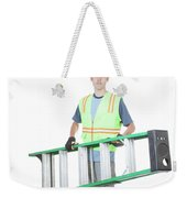 Construction Worker Carrying A Ladder Weekender Tote Bag
