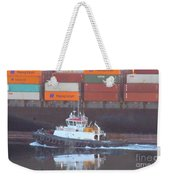 Container Ship And Tug Weekender Tote Bag