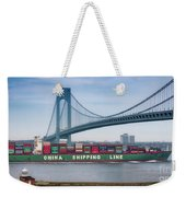 Container Ship Passing The Verrazano Bridge Weekender Tote Bag