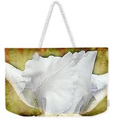 Contemporary White Iris Weekender Tote Bag