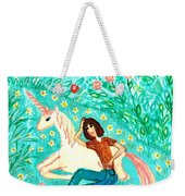Conversation With A Unicorn Weekender Tote Bag