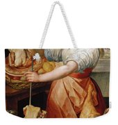 Cook With Chicken. In The Background Christ With Mary And Martha Weekender Tote Bag