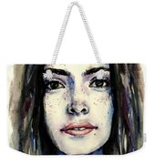 Cool Colored Watercolor Face Weekender Tote Bag