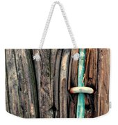 Copper Ground Wire And Knothole On Utility Pole Weekender Tote Bag