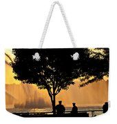 Cops Watch A Fireboat On The Hudson River Weekender Tote Bag