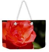 Coral Rose Focus Left Weekender Tote Bag
