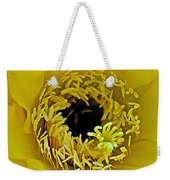 Core Of A Yellow Cactus Flower At Pilgrim Place In Claremont-california Weekender Tote Bag
