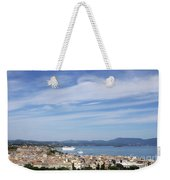 Corfu Town And Port With Cruiser Cityscape Weekender Tote Bag