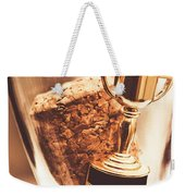 Cork And Trophy Floating In Champagne Flute Weekender Tote Bag