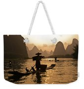 Cormorant Fisherman At Sunset Weekender Tote Bag