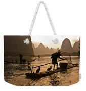 Cormorant Fishermen At Sunset Weekender Tote Bag
