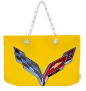 Corvette Emblem On Yellow Weekender Tote Bag
