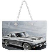 Corvette Sting Ray 1963 Silver Weekender Tote Bag by Etienne Carignan