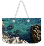 Cote D Azur - Stark White And Silky Azure Blue Weekender Tote Bag