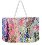 Cottage Flowers With Dragonfly Weekender Tote Bag
