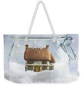 Cottage In Snow Weekender Tote Bag