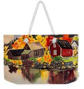 Cottages By A Lake In Autumn  Weekender Tote Bag