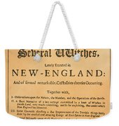 Cotton Mather, 1693 Weekender Tote Bag by Granger