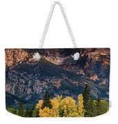 Cottonwoods Fir Trees Fall Color Grand Tetons Nat Weekender Tote Bag by Dave Welling
