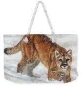 Cougar In The Snow Weekender Tote Bag