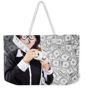 Counterfeit Printing Rolls Of American Money Weekender Tote Bag